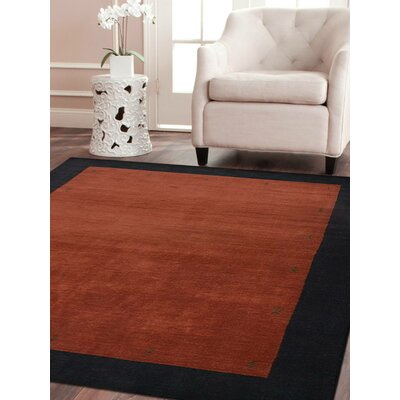 Ry Hand Knotted Wool Red/Black Area Rug Rug Size: 8 x 11