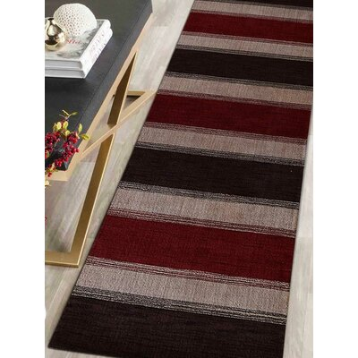 Ry Hand Knotted Wool Brown/Red/Gray Area Rug Rug Size: Runner 26 x 12