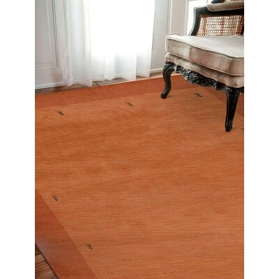 Ry Hand Knotted Wool Orange Area Rug Rug Size: 8 x 11
