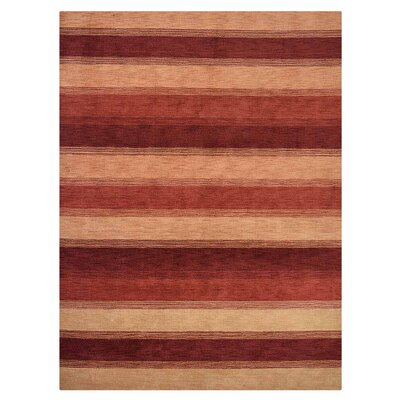 Ry Hand-Knotted Wool Gold/Red Area Rug Rug Size: 10 x 13
