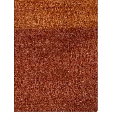 Ry Hand-Knotted Wool Orange Area Rug Rug Size: 5 x 8