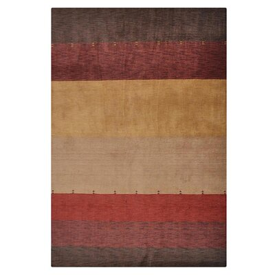 Ry Hand-Knotted Wool Red/Brown Area Rug Rug Size: Rectangle 5 x 8
