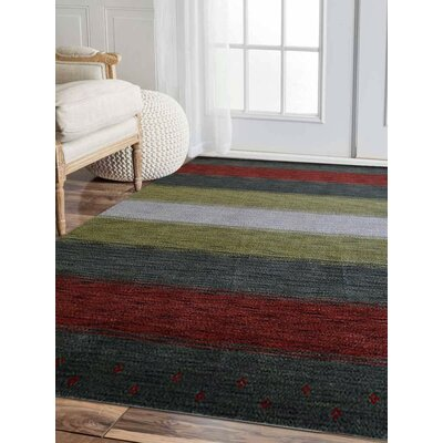 Ry Hand-Knotted Wool Green/Red Area Rug Rug Size: 5 x 8