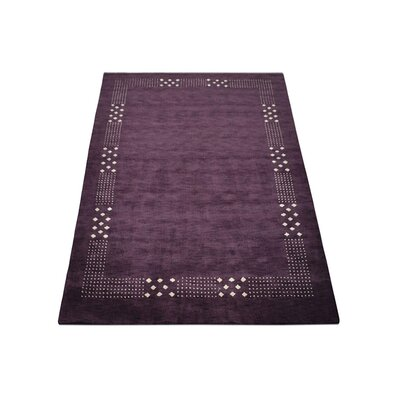Delano Contemporary Hand Knotted Wool Purple Area Rug Rug Size: 9 x 12