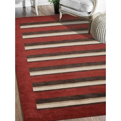 Ceniceros Striped Hand-Knotted Wool Red/Brown Area Rug Rug Size: Rectangle 5 x 8