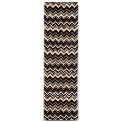Shelburne Black/White Zigzag Stripe Area Rug Rug Size: Runner 23 x 8