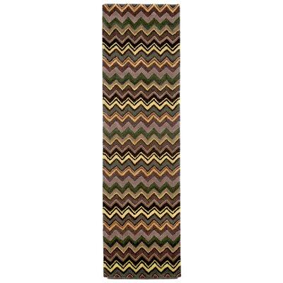 Shelburne Green Zigzag Stripe Rug Rug Size: Runner 23 x 8