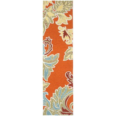 Cosmo Ornamental Leaf Border Orange Indoor/Outdoor Area Rug Rug Size: Runner 2 x 8