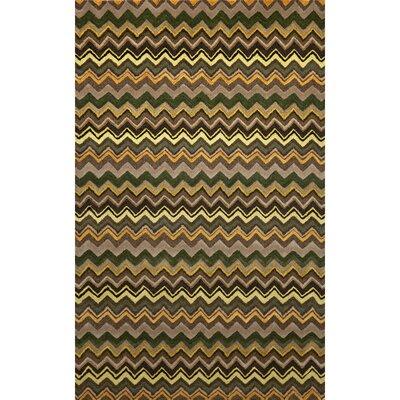 Shelburne Green Zigzag Stripe Rug Rug Size: 5 x 8