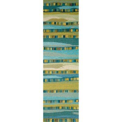 Shelburne Mosaic Blue Stripe Area Rug Rug Size: Runner 23 x 8