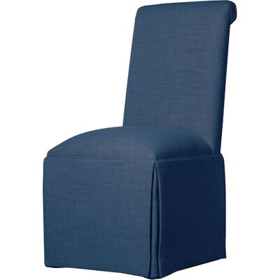 Weare Solid Back Skirted Upholstered Dining Chair Upholstery: Sapphire