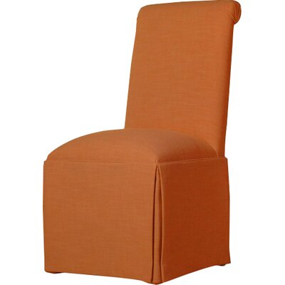 Arvidson Solid Back Skirted Upholstered Dining Chair Upholstery: Orange
