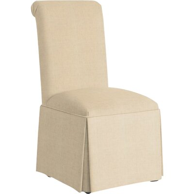 Weare Solid Back Skirted Upholstered Dining Chair Upholstery: Linen