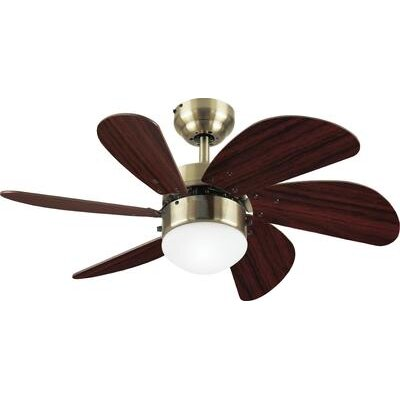 30 Jules 6 Blade Ceiling Fan Finish: Antique Brass with Walnut Blades