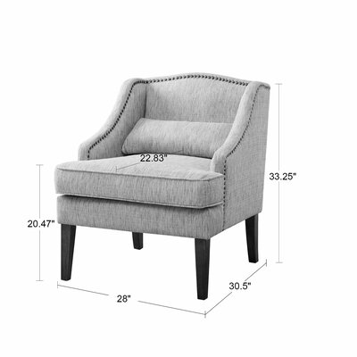 Burgess Swoop ArmChair Upholstery: Gray, Nailhead Detail: Bronze