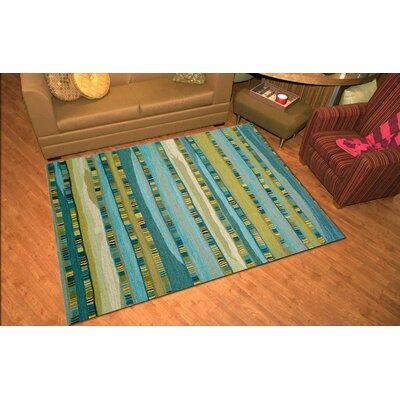 Shelburne Mosaic Blue Stripe Area Rug Rug Size: 8 x 10
