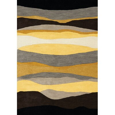 Bundella Yellow Evening Beach Area Rug Rug Size: 53 x 77