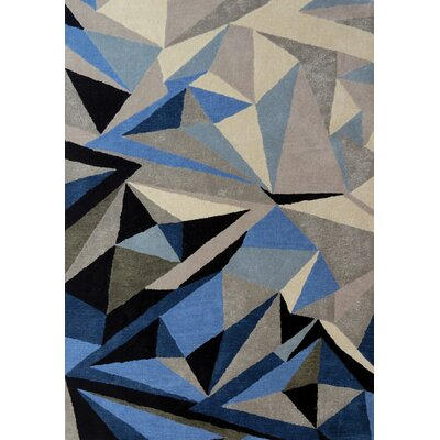 Bundella Triangle Gray/Blue Area Rug Rug Size: Rectangle 53 x 77