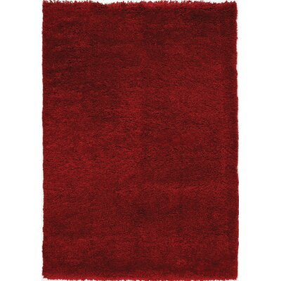 Barry Luxurious Red Area Rug Rug Size: 53 x 77