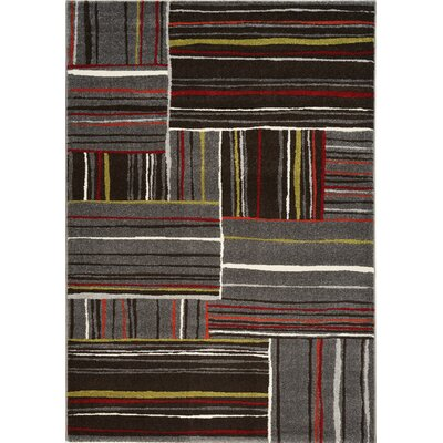 Rundall Red/Gray Area Rug Rug Size: 53 x 77