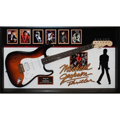 Autographed Michael Jackson Guitar 'Thriller' Framed Vintage Advertisement LRUN1382 38975541