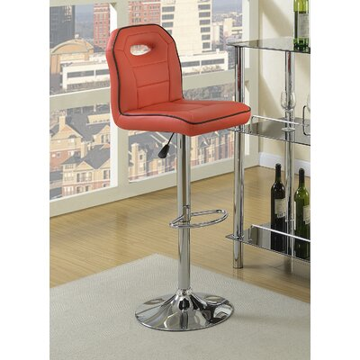 Singley Adjustable Height Swivel Bar Stool Upholstery: Red