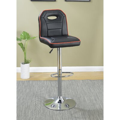 Singley Adjustable Height Swivel Bar Stool Upholstery: Black