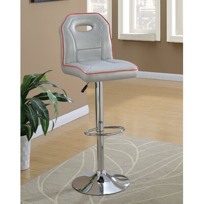 Singley Adjustable Height Swivel Bar Stool Upholstery: Gray