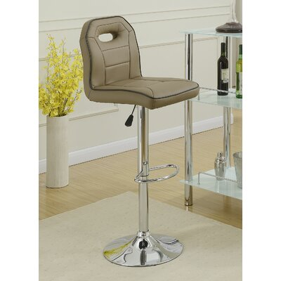 Singley Adjustable Height Swivel Bar Stool Upholstery: Brown