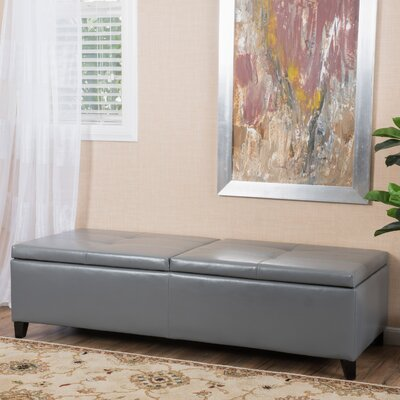 Mengel Leather Storage Ottoman Upholstery: Gray