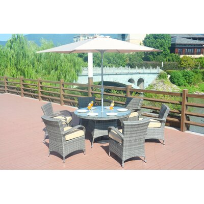 Poyner 8 Piece Dining Set with Cushion and Umbrella Color: Gray