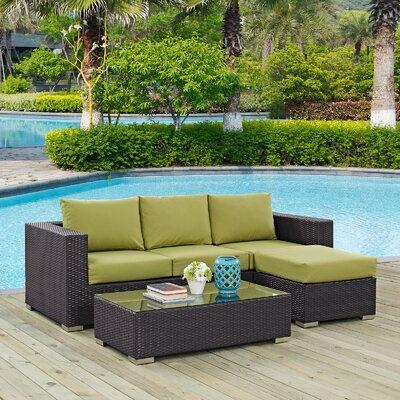 Ryele Contemporary 3 Piece Deep Seating Group with Sunbrella Cushion Fabric: Peridot