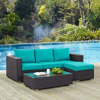 Ryele Contemporary 3 Piece Deep Seating Group with Sunbrella Cushion Fabric: Turquoise