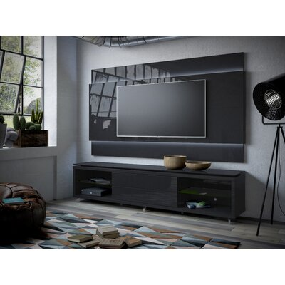 Franklin 77-95 TV Stand Color: Black Gloss / Black Matte, Width of TV Stand: 74.44 H x 85.43 W x 17.63 D