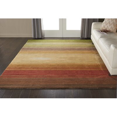 Gemini Hand-Tufted Green/Beige/Red Area Rug Rug Size: Rectangle 5 x 76