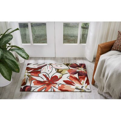 Mindy Hand-Hooked Ivory/Red Area Rug Rug Size: Rectangle 36 x 56
