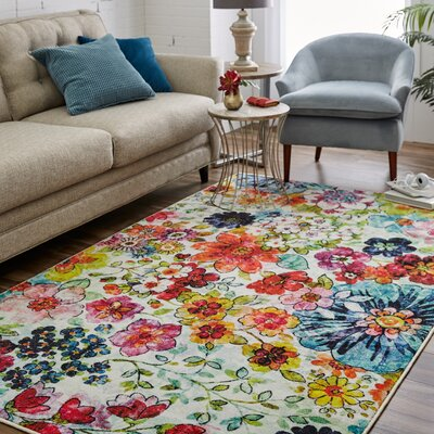 Venson Blossoms Pink/Blue Area Rug Rug Size: Rectangle 5 x 9