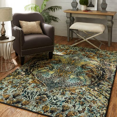 Harrigan Black/Green/Yellow Area Rug Rug Size: Rectangle 5 x 8