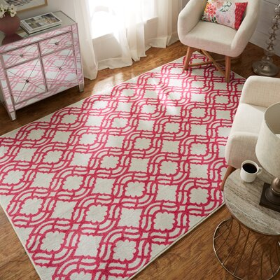 Venson White/Pink Area Rug Rug Size: Rectangle 8 x 10