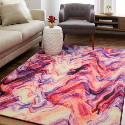 Venson Wavelength Beige/Red/Purple Area Rug Rug Size: Rectangle 5 x 8