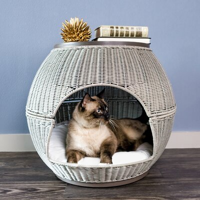Deluxe Wicker End Table Cat Bed Color: Smoke