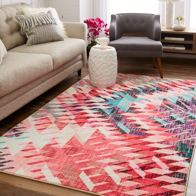 Venson Pink/Beige Area Rug Rug Size: Rectangle 8 x 10