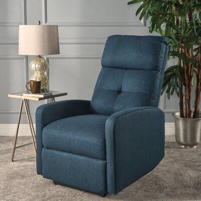 Yinka Push Back Recliner Upholstery: Navy Blue