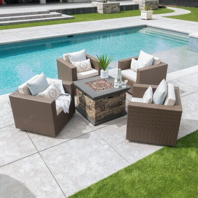 Schiller Modern Outdoor 5 Piece Rattan Conversation Set with Cushions Frame Finish: Brown