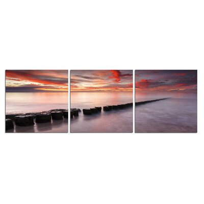 'Rocks, Sunset, Ocean' Photographic Print Multi-Piece Image on Wrapped Canvas