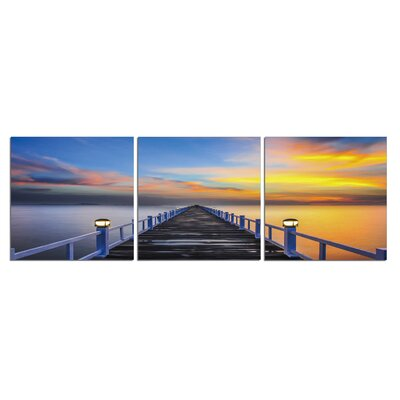 'Pier at Sunset' Photographic Print Multi-Piece Image on Wrapped Canvas
