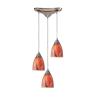 Rena 3-Light Pendant Glass Type: Multi