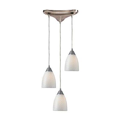 Rena 3-Light Pendant Glass Type: White Swirl