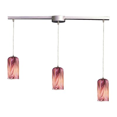 Oakridge 3-Light Linear Pendant Glass Type: Molten Rose