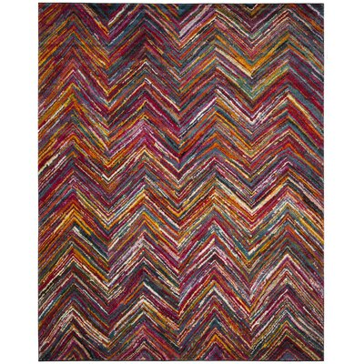 Miley Red/Orange/Green Area Rug Rug Size: Rectangle 9 x 12